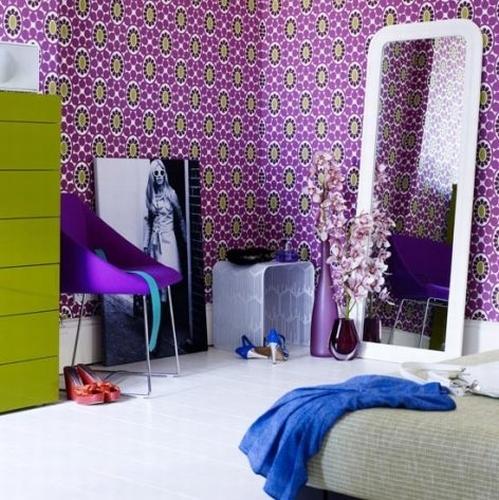 Cool Purple Room Colour Pics : Tapeta w sypialni - kokopelia design : kokopelia design