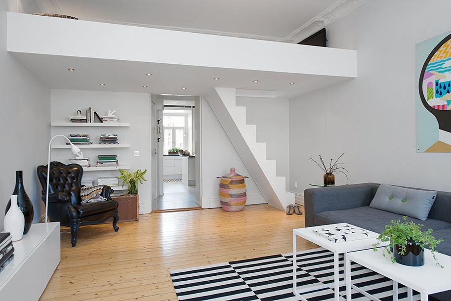 Wysokie mieszkanie antresola kokopelia design - Decoracion de interiores pisos pequenos ...