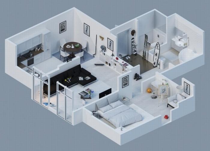 Wizualizacje jak z the sims kokopelia design kokopelia - Floor plan 3d house building design ...