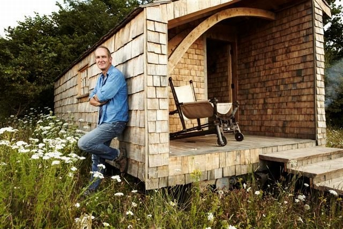 Kevin McCloud outside his shed